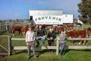 Provenir Founders in front of cattle and mobile abattoir
